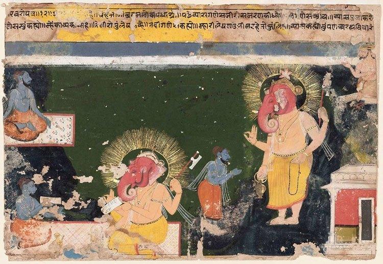 Ganesa schreibt das Mahabharat