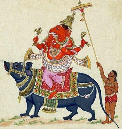 Ganesha reitet auf einer Ratte