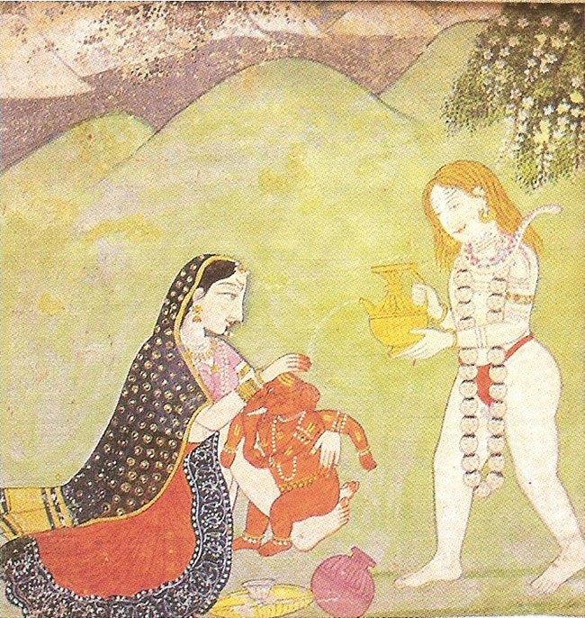 Shiva gibt Wasser über den Baby Ganesha