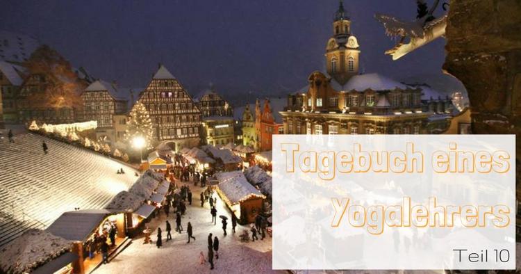 Tagebucht-Yogalehrer-Weihnachtsmarkt